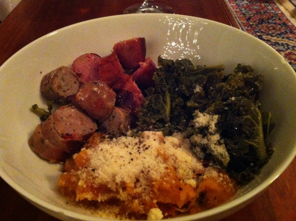Sausage, Sweet Potatoes and Kale