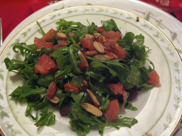 Arugula Salad with Grapefruit, Almonds, Dates and Meyer Lemon Vinaigrette