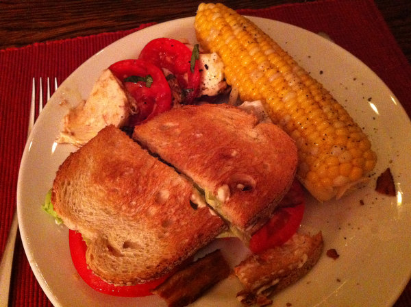 BLT, corn and caprese. A perfect summer meal.