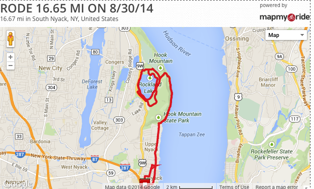 More Biking: 16 Miles to Rockland Lake and Back